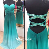 Ombre Green Sweetheart Chiffon Prom Dress With Cut Out Back , Ruched Bodice