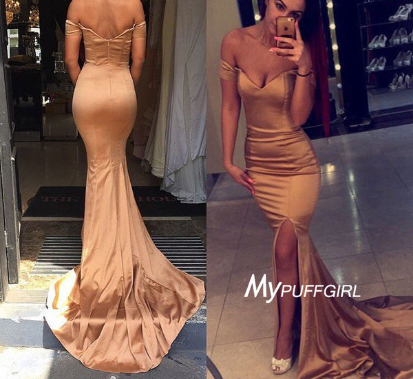 Gold Off The Shoulder Silk Satin Mermaid Formal Gown With Side Slit