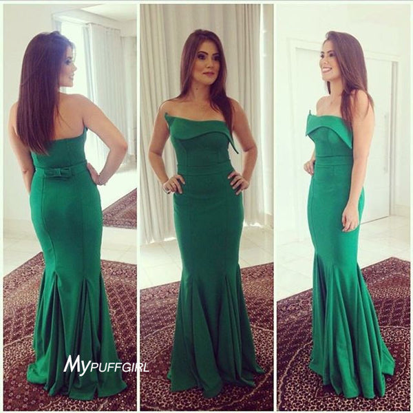 Green Strapless Mermaid Prom Dress,Evening Gown, Prom Gown
