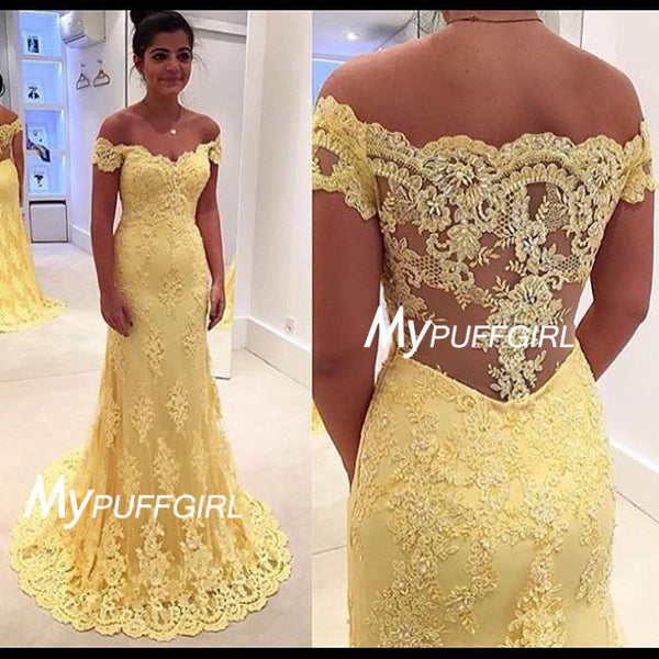 Fit And Flare Yellow Lace Off The Shoulder Prom Gown With Sheer Lace Back