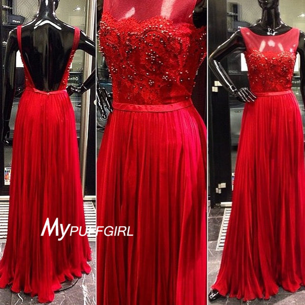 Red Illusion Backless Pleathed Chiffon Prom Gown With Beaded Lace Bodice