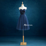 Navy Blue Sweetheart Tulle Short Bridesmaid Dress , Cocktail Dress With Ruched Bodice