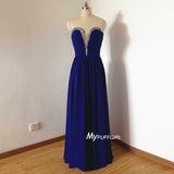 2016 Royal Blue Plunging Sweetheart Chiffon Prom Dress With Beading