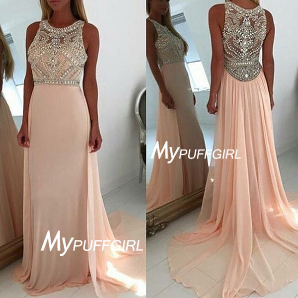 Pearl Pink Fitted Sleeveless Beaded Bodice Chiffon Prom Gown With Sweep Train