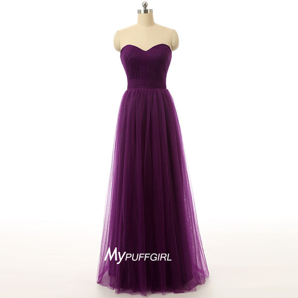 Plum Purple Strapless Tulle Long Formal Gown With Draped Bodice