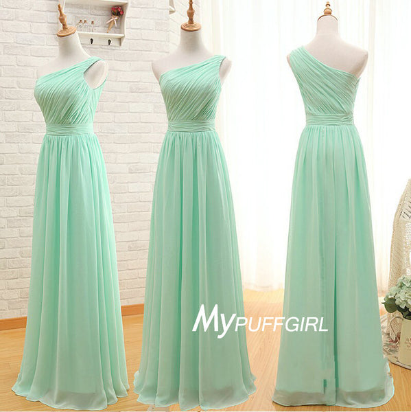 Mint Green One Shoulder Chiffon Bridesmaid Dress With Pleated Bodice