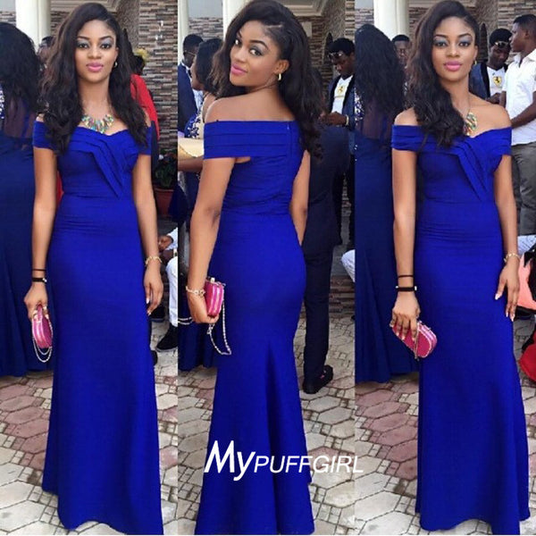 Gorgeous Bright Royal Blue Off The Shoulder Mermaid Prom Dress