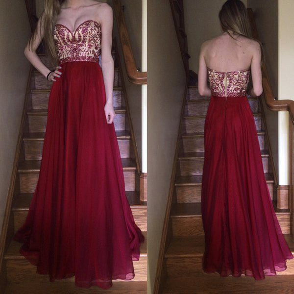 Wine Red Sweetheart Prom Dress, Beaded Formal Gown,Chiffon Evening Dress