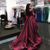 Gorgeous Off The Shoulder Prom Dress Burgundy Formal Evening Gown Sweep Train