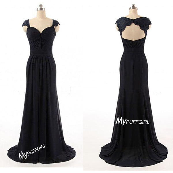 Black Cap Sleeves Chiffon Long Bridesmaid Gown With Cut Out Back