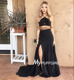 Black Halter Two Piece Chiffon Slit Prom Dress With Sweep Train