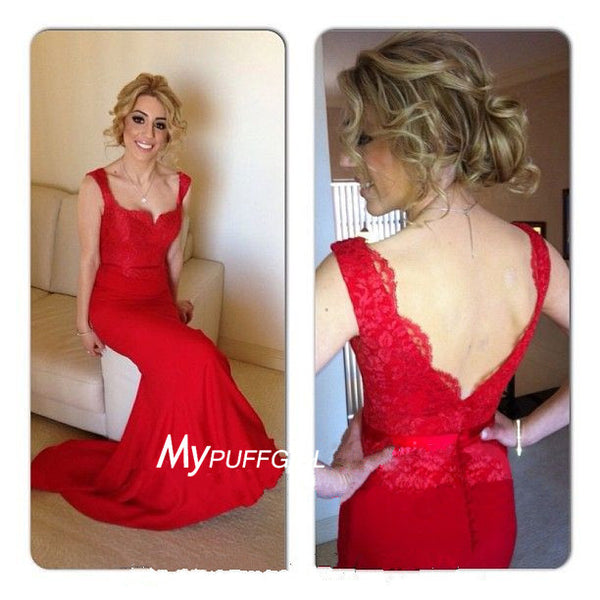 Designer Red Cap Sleeves Lace Bodice Mermaid Formal Gown With V Back