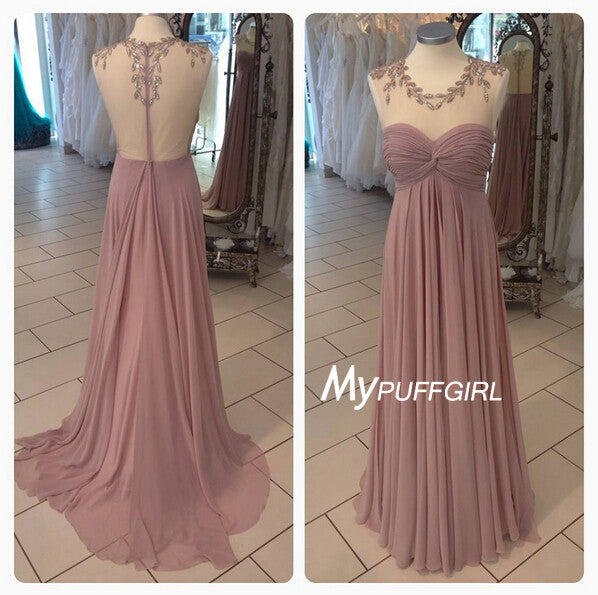 Illusion Sweetheart Empire Silk Chiffon Prom Dress With Sheer Back, Sweep Train