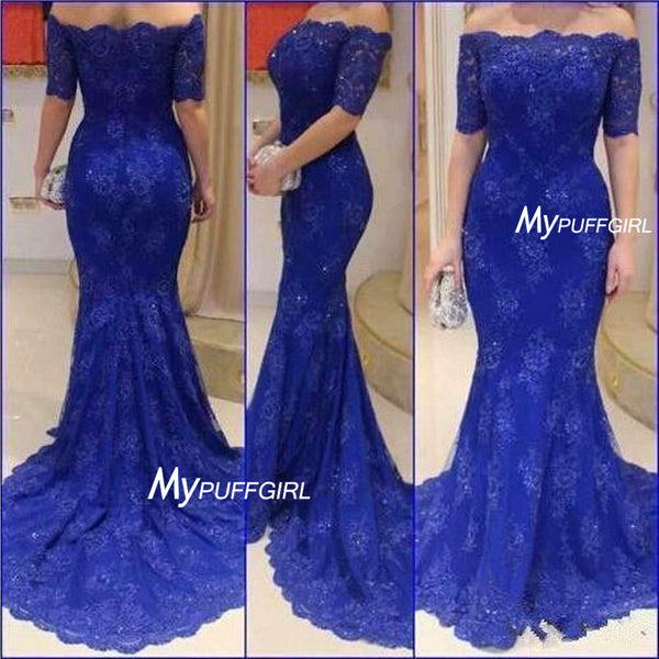 Royal Blue Lace Off The Shoulder Mermaid Formal Prom Gown With Sweep Train