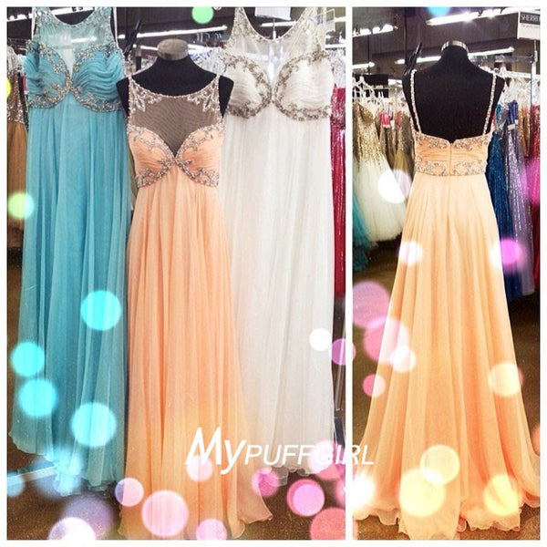 Gorgeous Sleeveless Illusion Chiffon Empire Prom Dress With Beading