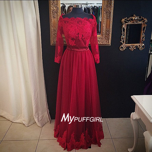 Red Off The Shoulder Long Sleeves Tulle Prom Gown With Lace Appliques