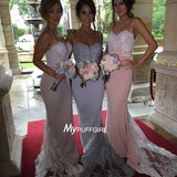Sweetheart Mermaid Bridesmaid Gown With Low Back , Beaded Lace Appliques Bodice