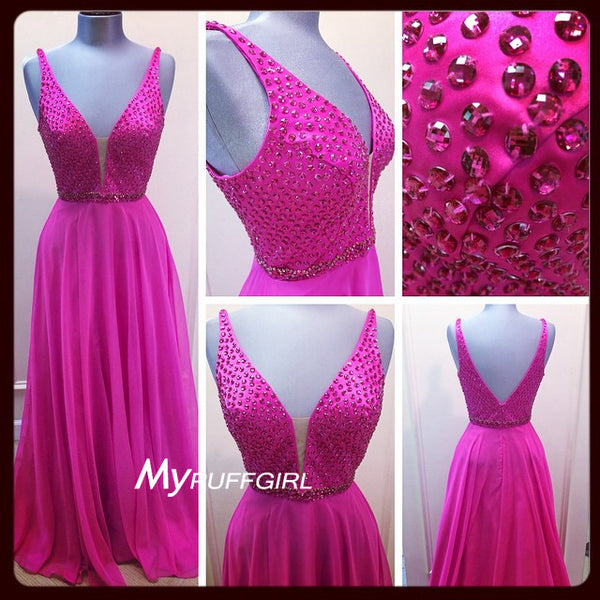 Fuchsia Plunging V Neck Chiffon Formal Gown With Beaded Bodice , V Back
