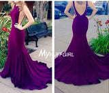 Sexy Sleeveless Backless Mermaid Formal Prom Gown With Sweep Train