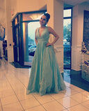 Fashion Light Blue V Neck Prom Dress, A Line Formal Gown With Sheer Back