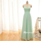 Sweetheart Empire Chiffon Long Bridesmaid Dress With Ruched Bodice