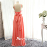 Coral Sweetheart Backless Chiffon Bridesmaid Dress With Spaghtti Straps