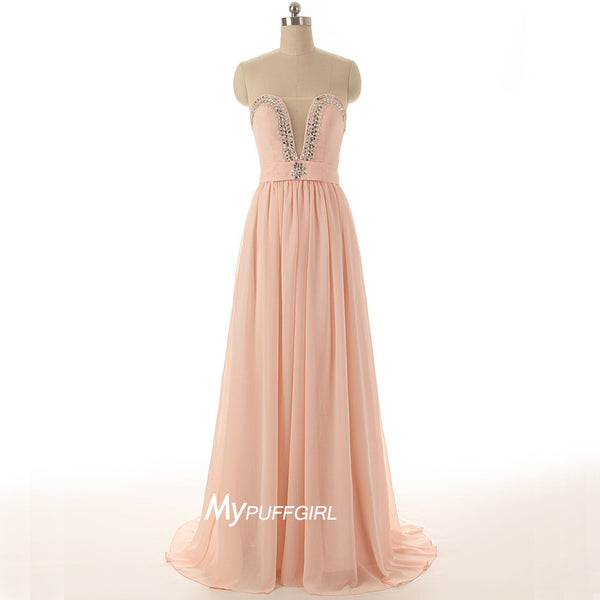 Pearl Pink Plunging Sweetheart Chiffon Prom Dress , Formal Gown With Beading