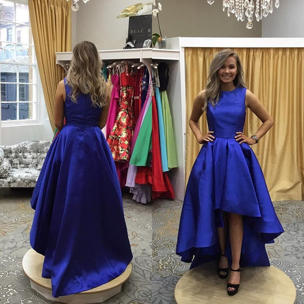 2017 Royal Blue Tea Length Homecoming Dress, High Low Skirt Party Dress