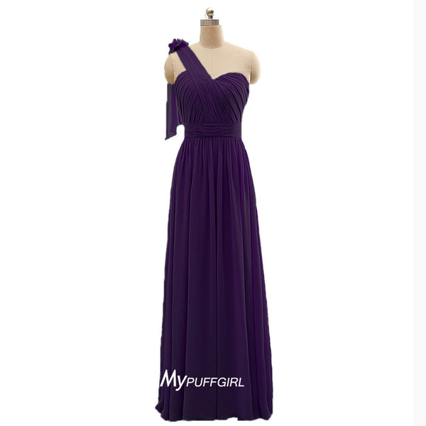 One Strap Floor Length Chiffon Bridesmaid Dress With Pleated Bodice