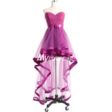 Orchid Tulle Sweetheart Cocktail Party Dress With High Low Skirt