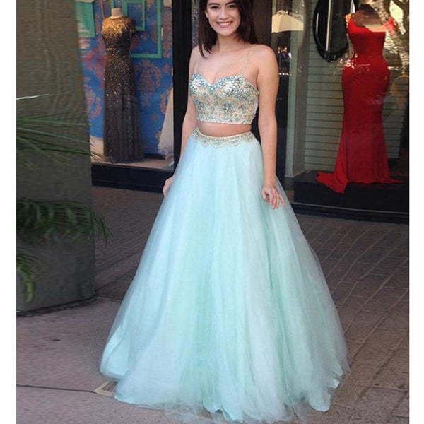 Beaded Sweetheart Prom Dress Mint Green Two Piece Formal Gown For Senior Prom