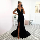 Black Evening Gowns For Women Formal V Neck Mermaid Side Slit Skirt Sweep Train