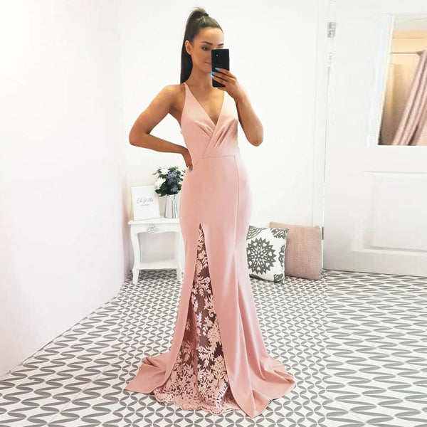 Blush Pink Prom Dress For  Junior Girl V Neck Formal Gown Mermaid Open Back Sheer Lace Slit