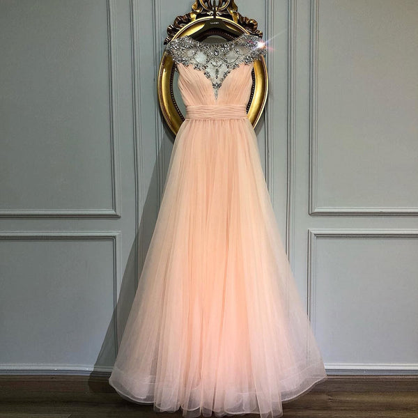 Blush Pink Prom Dress Cap Sleeves A Line Formal Gown With Beaded Illusion Neckline
