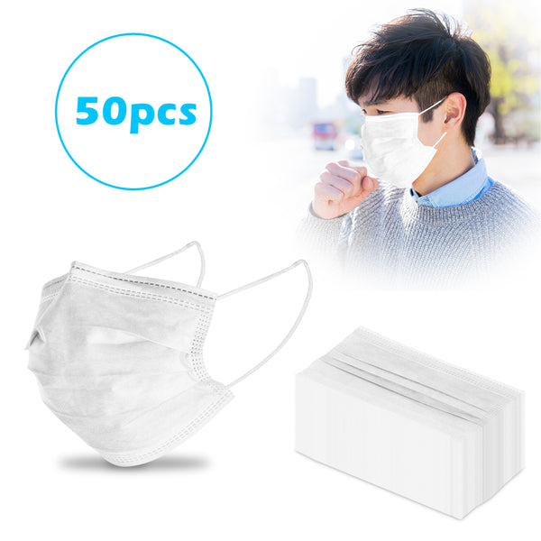 Disposable Mask White For Germ And Flu Protection With Earloops 3 Layer Perfect For Pet Care And Beauty Salon