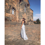 Gorgeous Silver Grey Sweetheart Prom Dress,Satin Formal Gown With Beaded Bodice