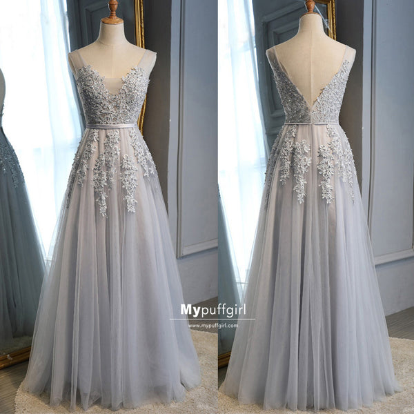Elegant Light Grey Tulle V-Neck A-Line Backless Long Prom Dress with Lace Appliques
