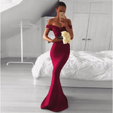 Elegant Off The Shoulder Prom Dress Burgundy, Mermaid Formal Gown With Draped Bodice