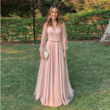 2020 Elegant Prom Dress For Girl Formal Gown Blush Pink V Neck With Sheer Long Sleeves