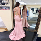 Fitted Sexy V Neck Formal Evening Gown Pink Backless Prom Dress With Side Slit