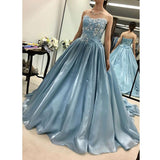 Gorgeous Strapless Prom Dress Ball Gown Wedding Party Dress With Appliques