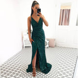 Green Fitted V Neck Prom Dress For Girl Sequin Backless Formal Gown Side Slit With Gathered Waistline