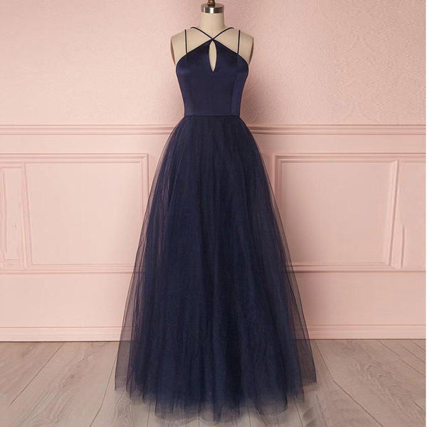 Halter Sleeveless Evening Gowns For Women Formal, Tulle A Line Prom Dress Navy Blue Long