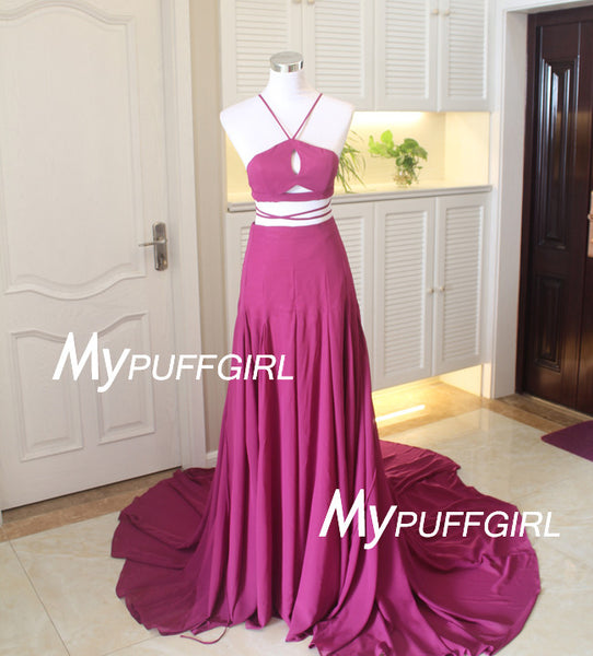 Radiant Orchid Halter Two Piece Evening Dress With Sweep Train
