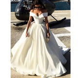 Ivory Formal Evening Gown Off The Shoulder Ball Gown Prom Dress Wedding Dress