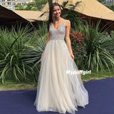 Ivory Tulle V-Neck Prom Gowns With Beaded, Backless A-Line Long Formal Dresses