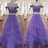 Lavender Prom Dress Off The Shoulder Formal Evening Gown With Lace Crop Top, Layered Skirt