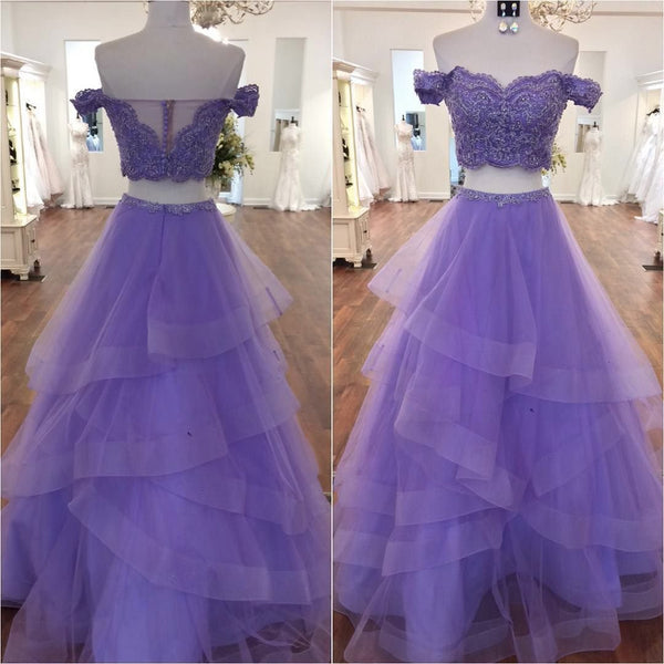815aa7e5a5b Lavender Prom Dress Off The Shoulder Formal Evening Gown With Lace Cro –  mypuffgirl