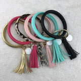 Big O Key Ring Bracelet Bangle Keyring Tassel Leather Circle Wristlet Keychain Pink Perfect Gift For Girl
