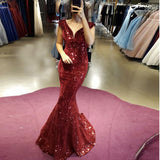 Mermaid Sequin Prom Dress V Neck Cap Sleeves Formal Evening Gown Wine Red